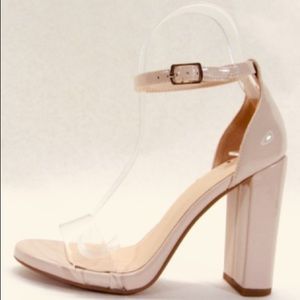 New Nude Clear Strap Patent Leather Heeled Sandal
